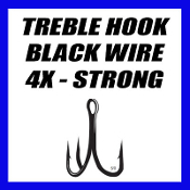 TREBLE HOOKS, 4X STRONG- BLACK WIRE
